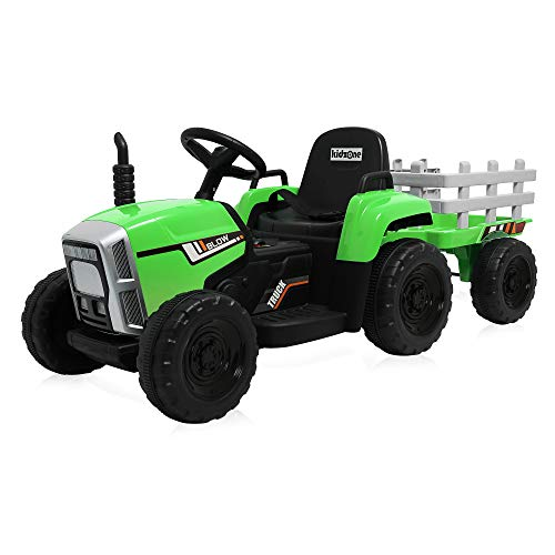 Kidzone Green 12V 7AH Kids Battery Powered Electric Tractor with Trailer Toddler Ride On Ground Loader w/ 2 Speeds 7-LED Lights USB & Bluetooth Audio Treaded Tires