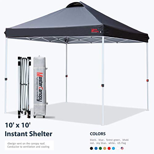 MASTERCANOPY Compact Canopy 10x10 Ez Pop up Canopy Portable Shade Instant Folding Better Air Circulation Canopy with Wheeled Bag,x4 Canopy Sandbags,x4 Tent Stakes(Black)