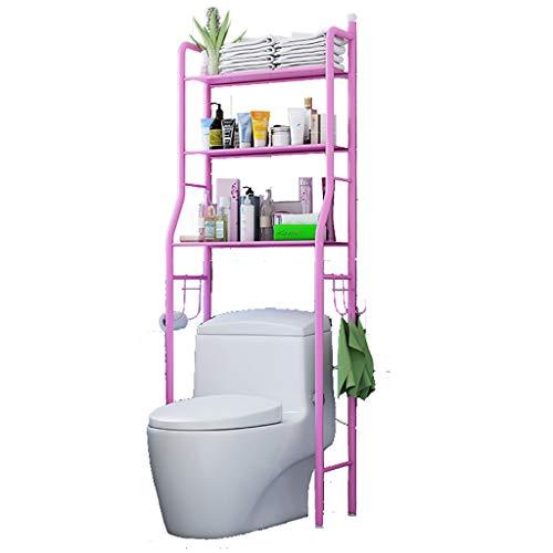 HJ Metal Over Toilet Storage Unit Metal Racks Bath Towel Rail Rack Home Shelf (Black,White,Pink)