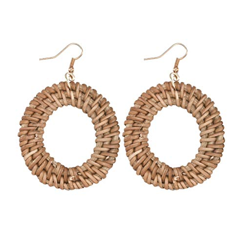 UINGKID Damen Ohrringe Mode Ohrstecker Rattan für Frauen handgemachte Stroh Wicker Braid Drop (1-F)