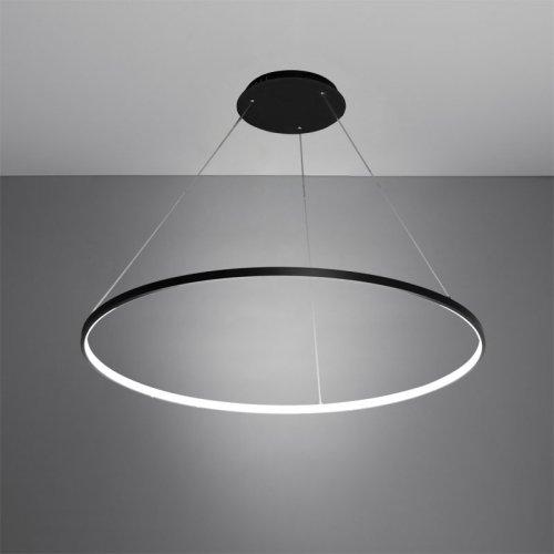 LightInTheBox Lámpara de techo colgante de 30 W, diseño moderno/anillo de iluminación LED, lámpara de araña acrílica para oficina, sala de estar, color negro, blanco cálido