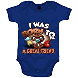 Body bebé I was born to be a great friend parodia friki de extraterrestre kawaii - Azul Royal, Talla única 12 meses