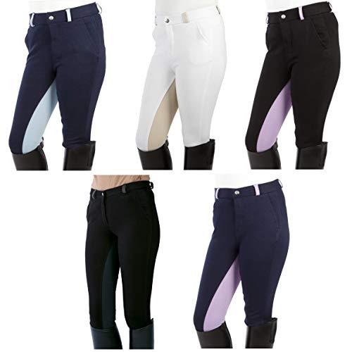 Pfiff - Pantaloni da Equitazione Elisa per Bambini, con Inserti in Tessuto, Look Super Morbido, Nero, 122