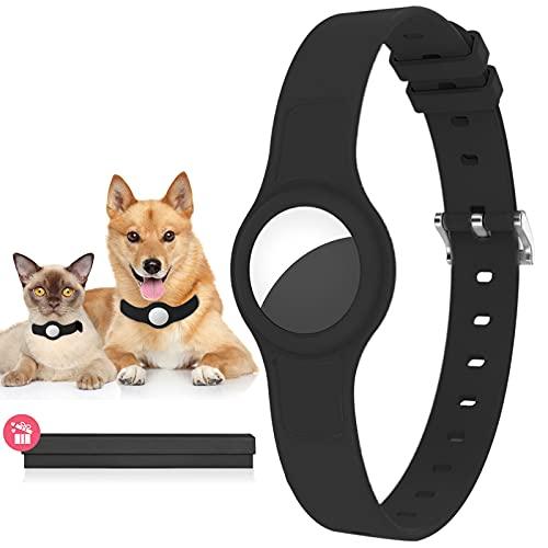 """GAGBK Hundehalsband für Airtag Anhänger, Airtag Hülle für GBS Tracking Hund und Katze, Silikon Schutzhülle für Apple Airtag Anti-Lost, Länge Verstellbar 8,8""""- 15,5'', Airtag Halsband Hülle Schwarz"""