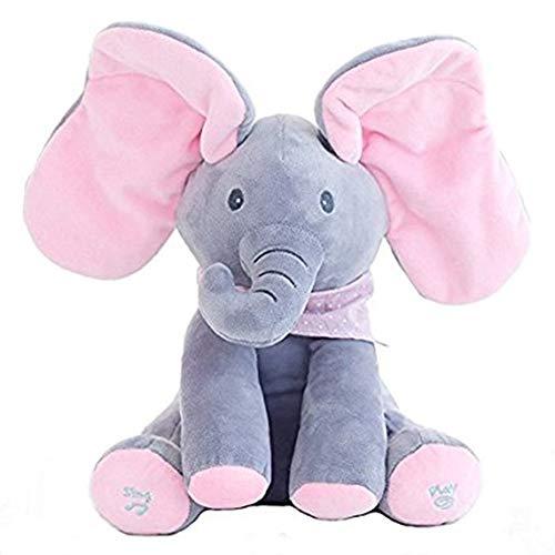 Peluche de Elefante con Movimiento y Sonido, Juguete de Peluche Peek-a-Boo Elefante, Juego de Ocultar y Buscar Muñeca de Peluche Animada de Felpa Muñecas para Bebé/Niños - Azul