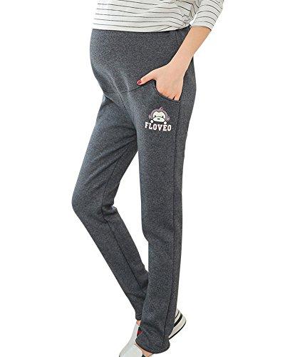 DianShao Umstandsjogginghose Lang Elegante Schwangerschaftshose Umstandshose Mit Bauchband Grau
