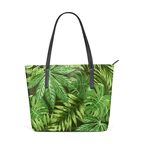 DEZIRO - Bolsos de hombro para mujer, diseño de marihuana verde y hojas de palma para uso saily