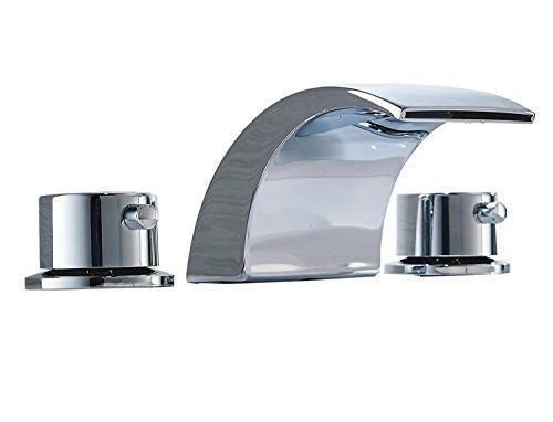Aquafaucet Waterfall Bathroom Faucet 3 Hole Chrome Widespread Bathroom...