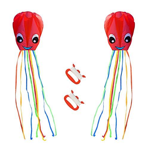 ZERHOK Kinder Drachen, 2Stk Rot Oktopus Winddrachen mit Drachenschnur Bunt Einleiner Flugdrachen für Mädchen Jungen
