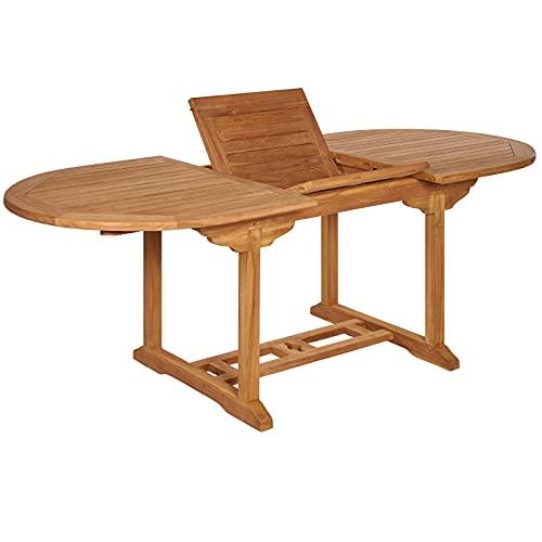 Garland Gartentisch Bari Ausziehbar 150-200 x 90 x 75 cm Teak Holz SVLK Zertifiziert Wetterfest Oval...