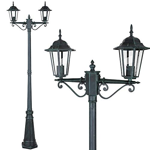 Bakaji Lampione Vittoriano Classico da Giardino in Alluminio e Vetro Lampada Lanterna Esagonale Colore Nero Finitura Anticata IP44 E27 (2 Luci)