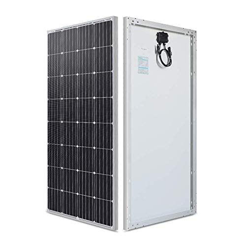 Rabbfay Monocrystalline Solar Panel, 100W 12V Compact Design Power Solar Panel Ideal for Off Grid PV System on Motorhome Caravan Camper yacht or Boat,1