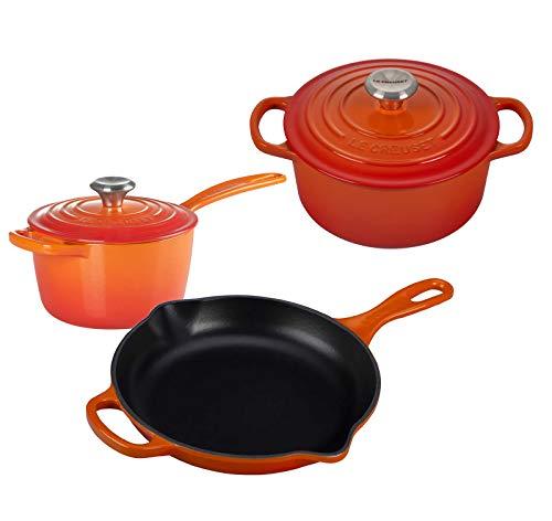 Le Creuset 5 Piece Enameled Cast-Iron SS Knob Condo Cookware Set - Flame