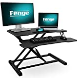 FENGE Standing Desk Converter 32' Wide with Large Storage Area and Removable Keybroad Tray Sit to Stand Up Desk for Dual Monitors SD315001WB