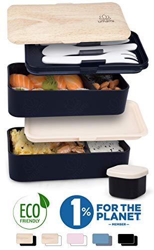 Umami  Lunch Box Negra Bambú | Bento Box con 2 Compartimientos Herméticos Y 3 Cubiertos Sólidos | Apto para Microondas Y Lavavajillas | Duradero, Saludable Y con Estilo | Apto para Adultos Y Niños