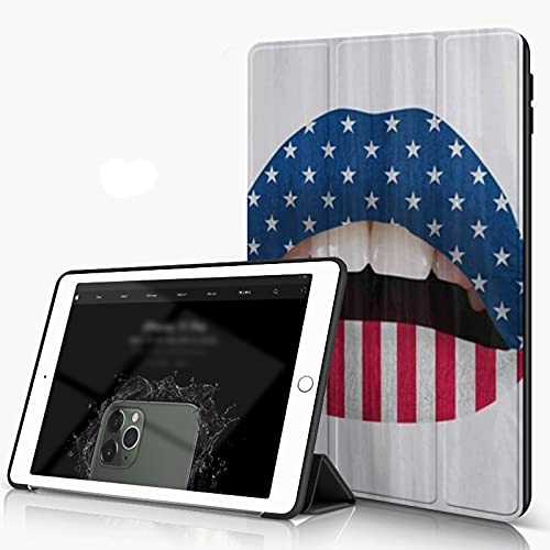 She Charm Carcasa para iPad 10.2 Inch, iPad Air 7.ª Generación,Lápiz Labial de Bandera de EE. UU. En la Boca de Labios sensuales,Incluye Soporte magnético y Funda para Dormir/Despertar
