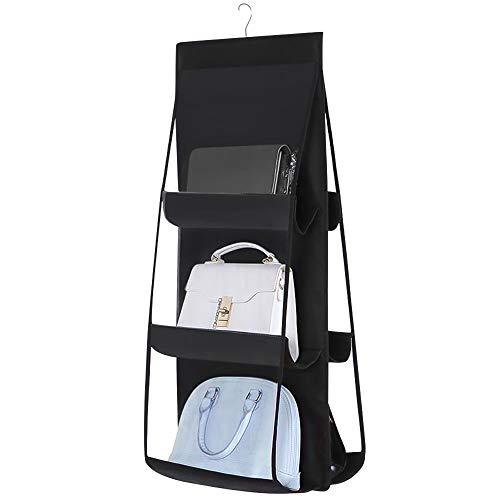 Inheming Hanging Purse Handbag Organizer Dust-Proof Space Saver Storage Holder Bag 6 Pockets Wardrobe Closet Hatstand