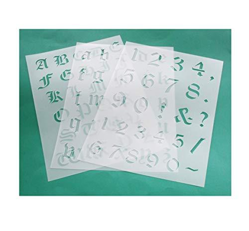 HBM-SCHABLONENSHOP 3er Schablonen Set 00301 - alte Schrift Buchstaben groß, klein und Zahlen
