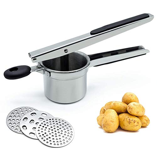 Potato Ricer,Ricer For Mashed Potatoes,Potato Ricer Stainless Steel With 3 Interchangeable Discs | Ricer Kitchen Tool Creates Smooth Creamy Mashed Potato,Fruits,Vegetables and Baby Food.