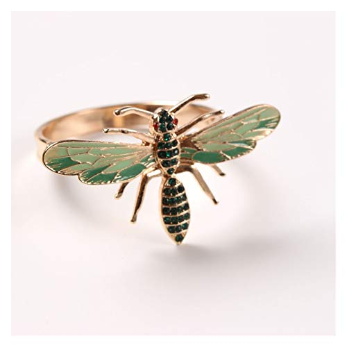 MENGzhuHSA Fashion 6pcs The New Bee Napkin Buckle Napkin Ring Alloy Insect Dragonfly Drip Diamond Buckle Paper Towels, Decoration Accessories (Color : Green)