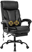 Home Office Chair Ergonomic Desk Chair Massage Computer Chair with Lumbar Support Armrest Foot Rest Rolling Swivel High Back PU Leather Recliner Task Chair for Men(Black)