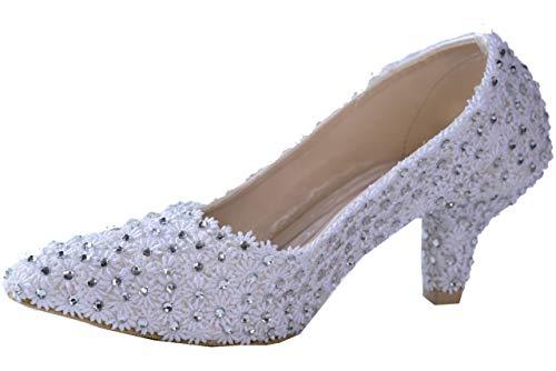 Zapatos de fiesta con tacón de satén con punta cerrada, para mujer...