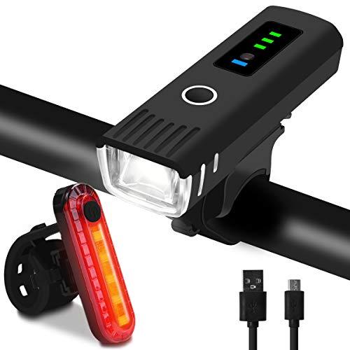 Qomolo Luz Bicicleta Recargable USB, LED Impermeable Conjuntos de Faros Delanteros y Traseros para Ciclismo, 4 Modos Linterna Delantera Bicicleta para Carretera y Montaña Ciclismo,Camping,Carretera