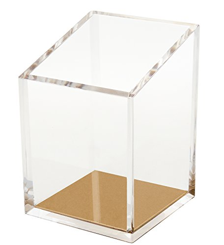 OfficeGoods Acrylic & Gold Pencil and Pen Holder - Beautiful Classic Modern Design to Keep Your Desk at The Office or Home Organized