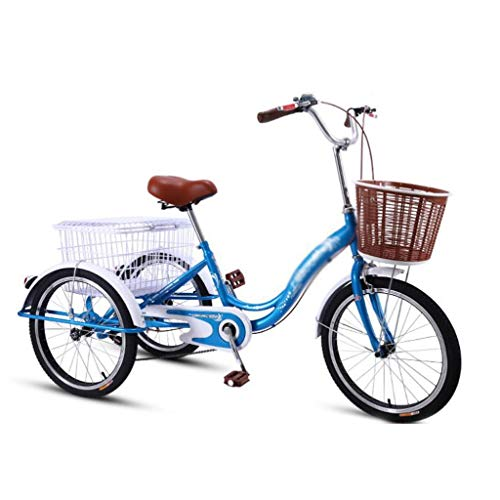 M-YN Triciclo Adulto Trikes Tricycle Adulto 20 Pulgadas 3 Motos de Ruedas for Personas Mayores Three Wheel Bike Cruise Bicycles Trike, Triciclo con Cesta de Compras for Mujeres, Hombres, Principiante