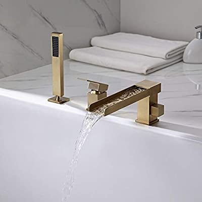 Lovedima Contemporary 3-Hole Bathroom Waterfall Bathtub Faucet Roman Tub Filler with Handheld Shower (Brushed Gold)