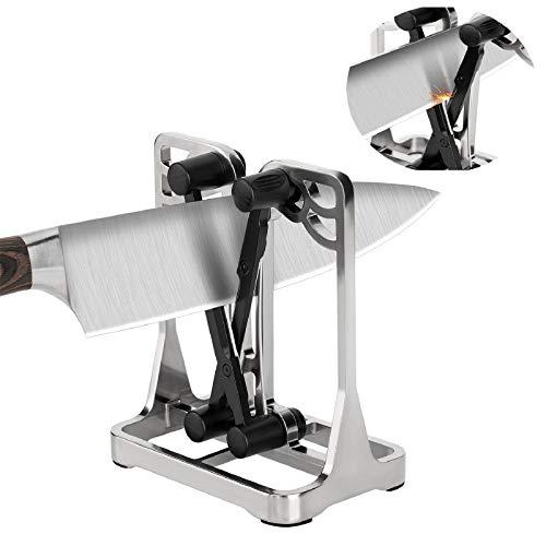 Dealswin Küchenmesserschärfer Bester professioneller Messerschärfer:Upgrade Metallrahmen Schärf- und Schleifwerkzeug,manueller Messerschärfer,geeignet für Arten von Messerwerkzeugen