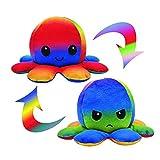 CJRNBU Oktupus Stimmungs Kuscheltier, Octopus Plüschtier, Reversible Octopus Tintenfisch für...
