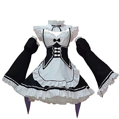 Natinr Mujer Rem Traje de mucama Disfraz de cosplay Re: La vida en un mundo diferente de Zero Anime Lolita Vestido elegante Mangas raglán Sombreros