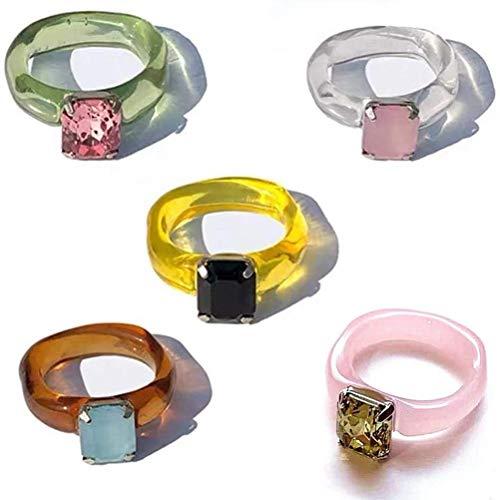 Congci Anillo de Diamantes de Colores, 5 Piezas, Conjunto de Anillos de Resina, Anillos de Dedo de Diamantes Retro, Anillos geométricos, Regalo de joyería para Mujeres y niñas, Dulce Moda