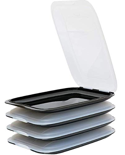 Design 4X Aufschnittboxen/Frischhalteboxen/Frischhaltedose stapelbar in der Farbe Schwarz geeignet für Aufschnitt wie Wurst und Käse und vieles mehr in der Größe 25x17x3.3cm