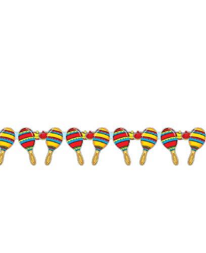 COOLMP - Lote de 6 guirnaldas Maracas mexicanas de 3 Metros, Talla única, decoración y Accesorios de Fiesta, animación, cumpleaños, Boda, Evento, Juguete, Globo