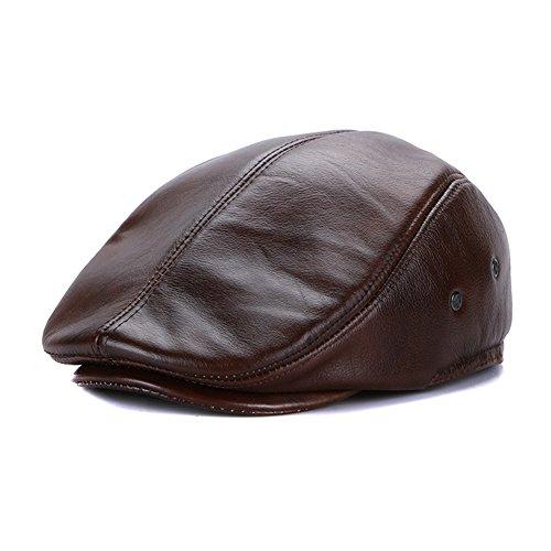 Sandy Ting Vintage Cowhide Leather Cabby Hat Newsboy Walking Driving Cap(Brown,Medium)