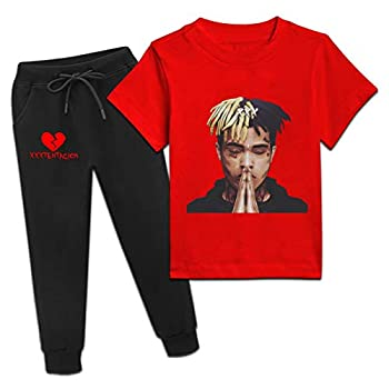 XXX-Tenta-Cion Short Sleeve T-Shirts and Sweatpants Set 2 Pieces Sweatsuit for Girls Boys Red
