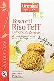 Germinal Bio Biscotti Riso Teff Limone e zenzero- 8 confezioni da 250 gr - 2000 gr, Senza glutine