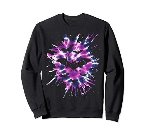 Lila Krawatte Färbung Fledermäuse Hippie Halloween Sweatshirt