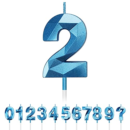 Geburtstag Nummer Kerzen, 3D Diamant Form Kuchen Kerzen Zahl 0 1 2 3 4 5 6 7 8 9 Glitzer Kuchen Topper Dekoration für Hochzeit Geburtstag Jubiläum Feier Abschluss, Gold (Blau, 2)