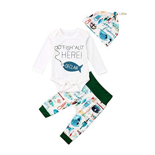 QingMi - Conjunto de Ropa de bebé recién Nacido, de Manga Larga, para Pesca, 3 Unidades, Blanco, 6-12 Meses