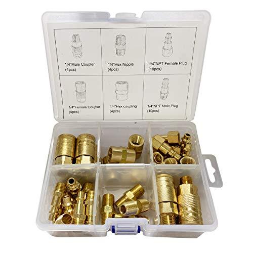 Air Hose Fittings 1/4' Air Coupler & Plug Kit,36 Pieces Quick Connect Air Compressor Accessories W/Storage Case