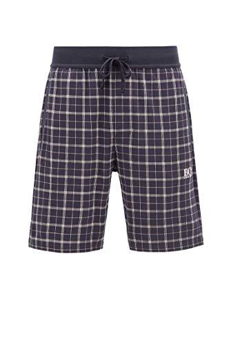 BOSS Herren Relax Shorts Karierte Pyjama-Shorts aus Interlock-Baumwolle mit Logo-Detail