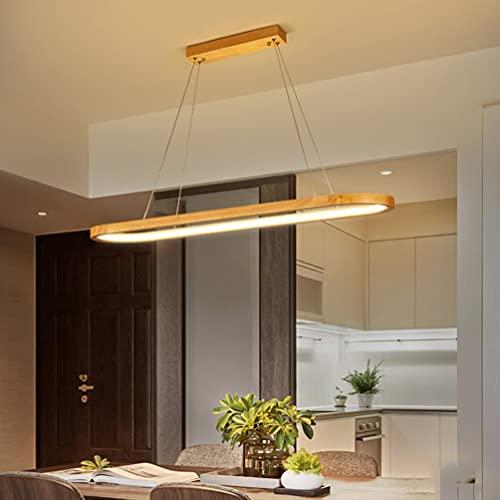 LED Dimmbar Holz Pendelleuchten mit Fernbedienung, Farbtemperatur/Helligkeit/Höhenverstellbar Modern Esstisch Lampe Hängeleuchte Pendellampe für Wohnzimmer Schlafzimmer Esszimmer Holzlampe L90cm