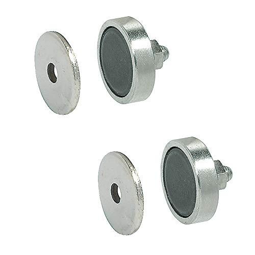 Gedotec Profi Magnet-Schnäpper Möbelschnäpper für Metallschränke | Magnetverschluss Stahl verzinkt | Möbelmagnet aus Stahl | Einbohr-Magnet 4 kg Haltekraft | 2 Stück - Türmagnet mit Gegenplatte