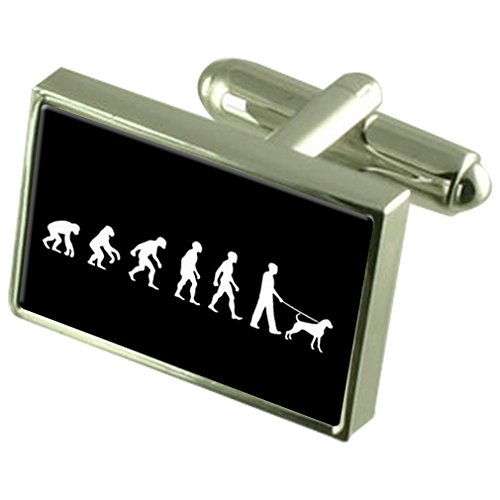 Évolution à l'homme singe Dog Walker Sterling Silver 925 Cufflinks Boxed