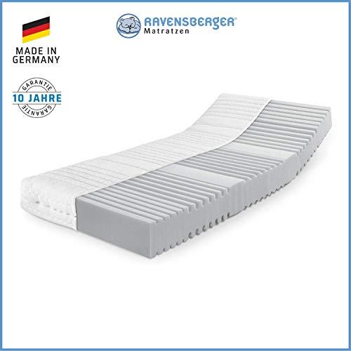 RAVENSBERGER Orthopädische | 7-Zonen-HYBRID-Kaltschaumkomfortmatratze | RG 40 Härtegrad 4 (ab 120Kg) | Made IN Germany - 10 Jahre GARANTIE | Baumwoll-Doppeltuch-Bezug | 90 x 200 cm