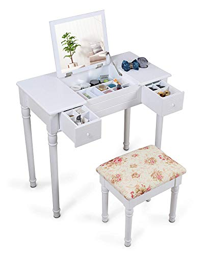 White Modern Dressing Table with Flip-Up Mirror