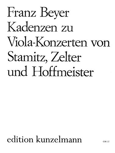 Partitions classique EDITION PETERS BEYER FRANK MICHAEL - CADENZAS TO VIOLA CONCERTI BY HOFFMEISTER, STAMITZ AND ZELTER - VIOLA Alto